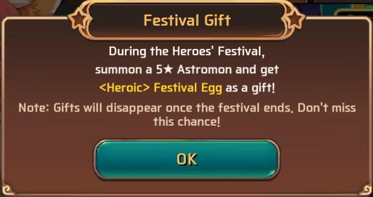 Hero Festival Egg Rewards