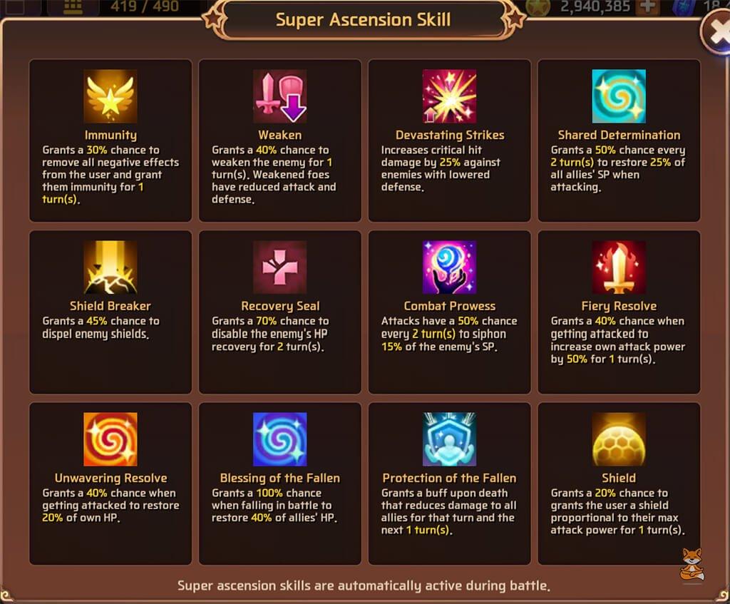 MSL Super Ascension Skills