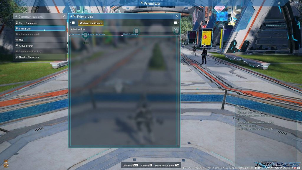 PSO2 NGS Friendlist UI