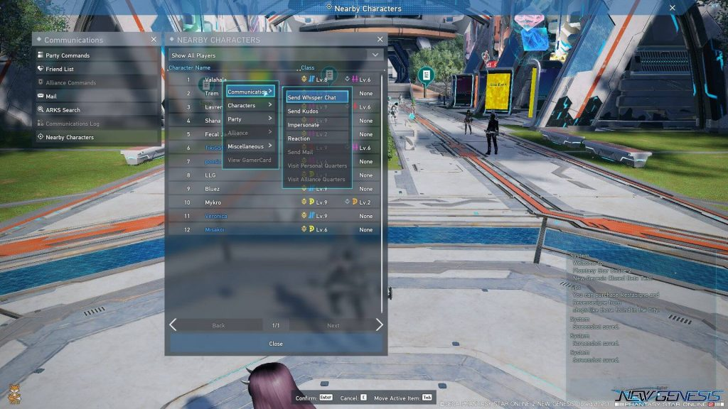 PSO2 NGS Nearby Friends UI