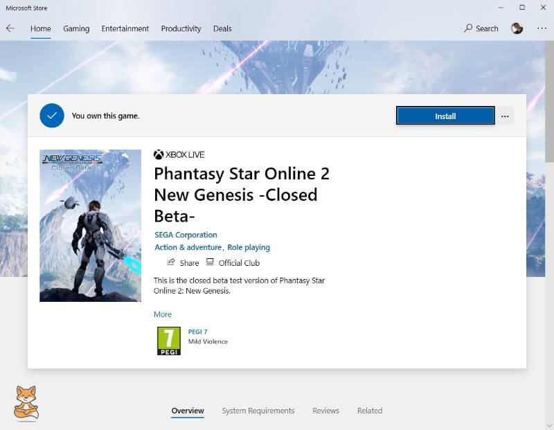 PSO2NGS Microsoft Store Download