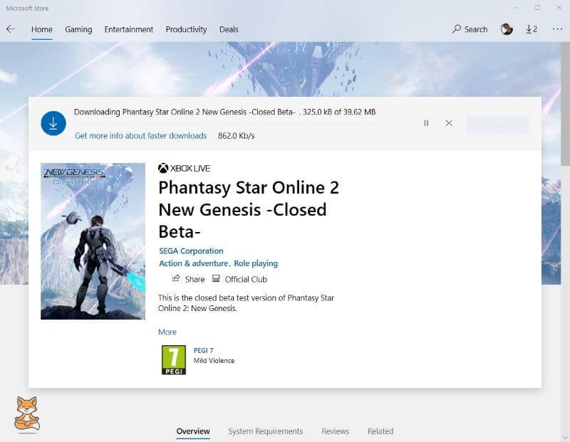 PSO2NGS Microsoft Store Downloading